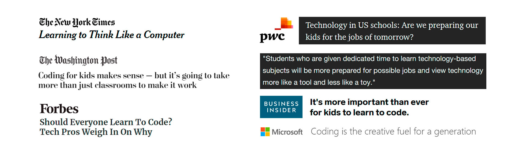 Headlines about the importance of learning to program for kids